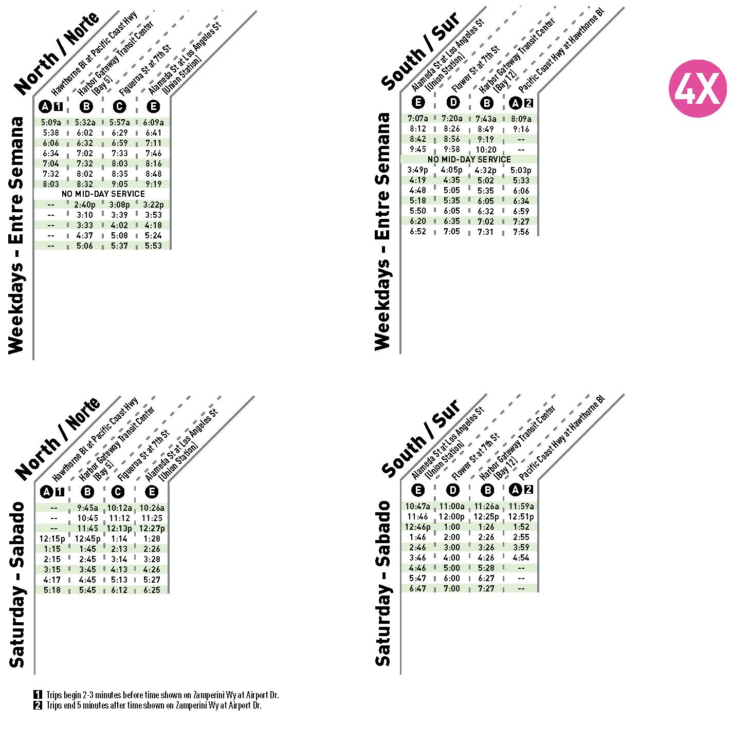 Line 4X Schedule