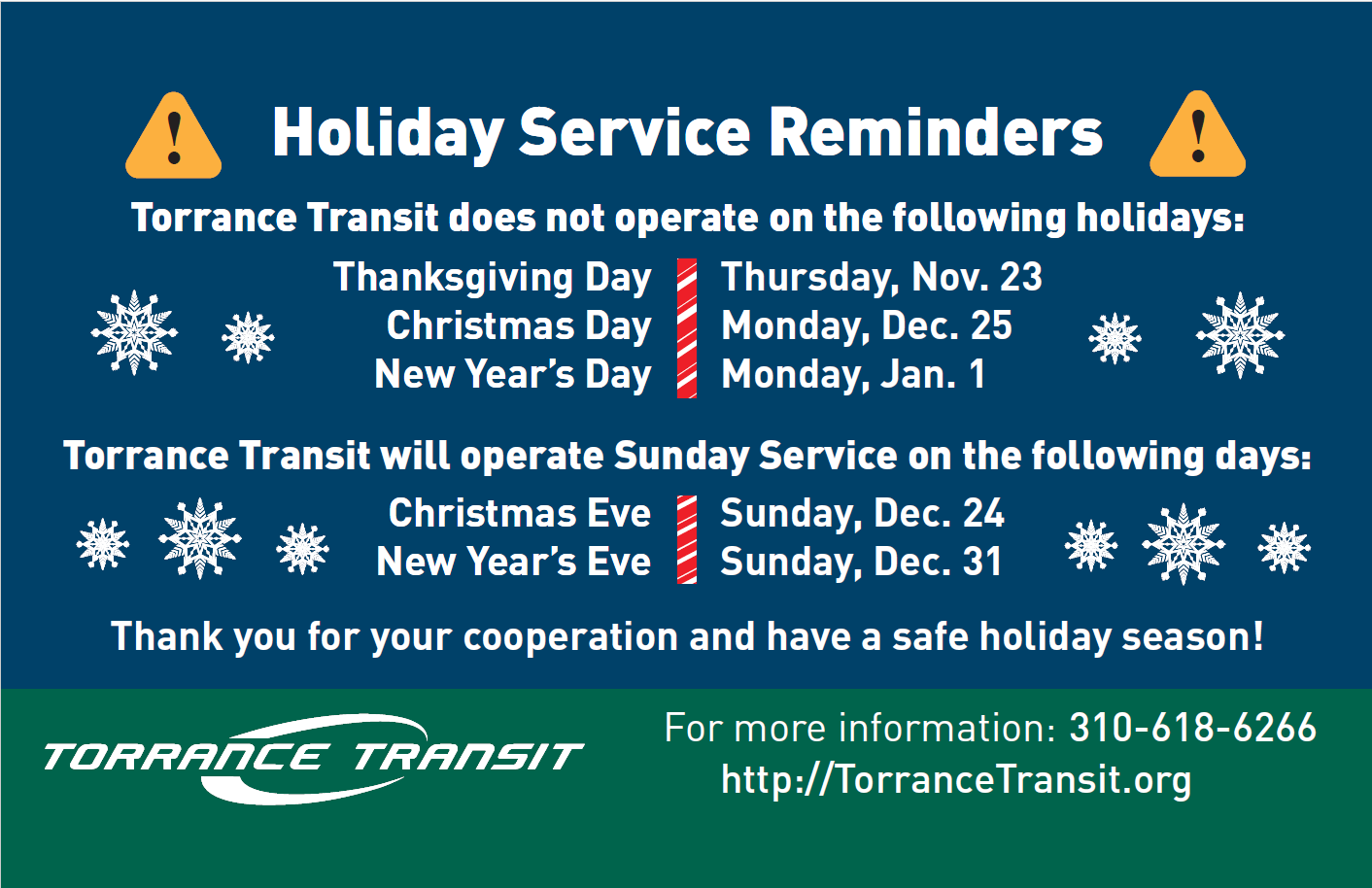 Holiday Service Schedule
